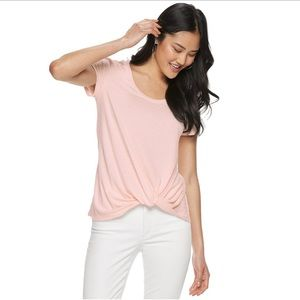 CANDIE'S SHORT SLEEVE KNOT FRONT TEE